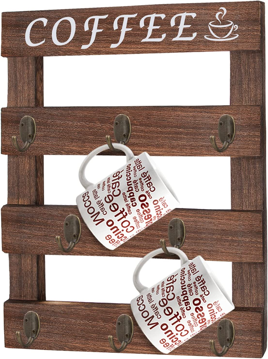 Qlfyuu Coffee Mug Holder Wall Mounted,Coffee Cup Holder with Coffee Sign,Farmhouse Coffee Mug Holder for Wall,Rustic Mug Rack with Hooks for Home Kitchen Display Storage and Collection(Brown)