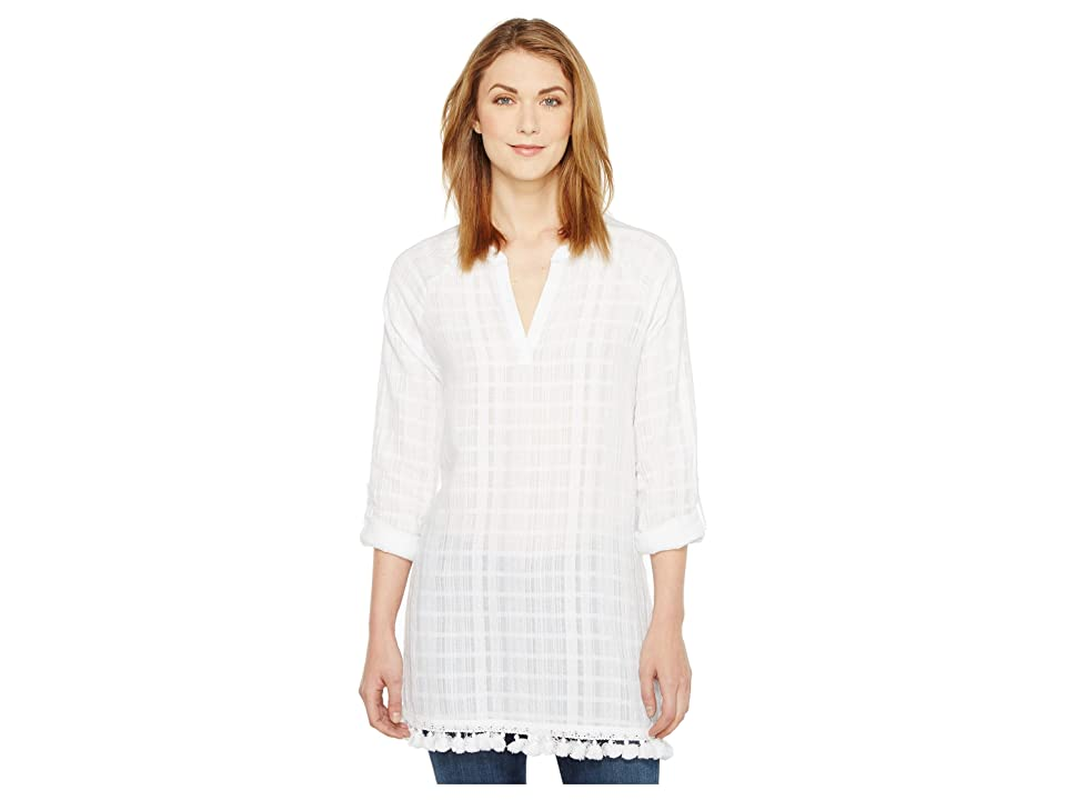 TWO by Vince Camuto Long Sleeve Textured Gauze Tassel Hem Tunic (Ultra White) Women
