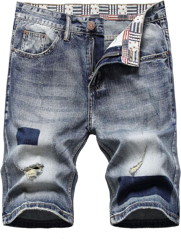 WUAI Denim Shorts for Men Summer Vintage Washed Ripped Distressed Stretchy Knee Length Moto Biker Denim Jeans Shorts