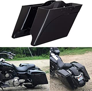 Advanblack Vivid/Glossy Black 4 1/2 inch Stretched Saddlebags Extended Bags Bottoms Fit for Harley Touring Road King Street Glide Electra Glide Ultra Classic Road Glide 1994-2013