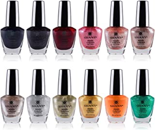 SHANY Nail Polish Set - 12 Futuristic Shades in Gorgeous Semi Glossy and Shimmery Finishes - Metallic Collection