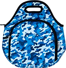 Waterproof, Thermal Neoprene Insulated Camo Army Blue Kids Lunch Bags by ITZI BITZI | Unique, Fun Camouflage Children's Lunch Box | Lightweight Boys Lunch Tote | Machine Washable