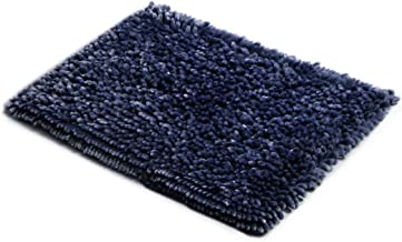 MICRODRY SoftGloss Shiny Absorbent Shag Chenille Memory Foam Bath Mat with GripTex Skid-Resistant Base (17x24, Medium Blue)
