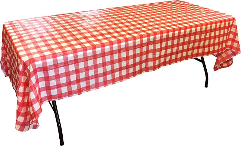 Plastic Table Cloths For Parties Disposable Tablecloths Biodegradable Table Cover Fits 6 Or 8 Tables EBook 4 Pack Red White Checkered