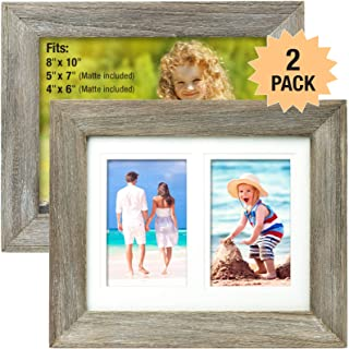 Rustic Barnwood 8x10 Picture Frame Set. Photo Frames Holder for Wall Desktop or Tabletop Display. Thick Weathered Gray Wood Home Decor. Fits 8x10 or 5x7 or 4x6 with included Matte (Pack of 2)