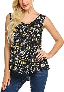 Zeagoo Women's Floral Tank Top Sleeveless Sexy V Neck Pleated Blouse Shirt