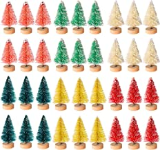 Cholung 48 Pieces Artificial Mini Christmas Trees Bottle Brush Mini Trees Snow Frosted Trees with Wood Base Plastic Tablet...