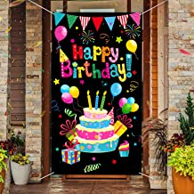 Tatuo Colorful Happy Birthday Door Cover Birthday Door Porch Sign Happy Birthday Photography Background Birthday Party Ban...
