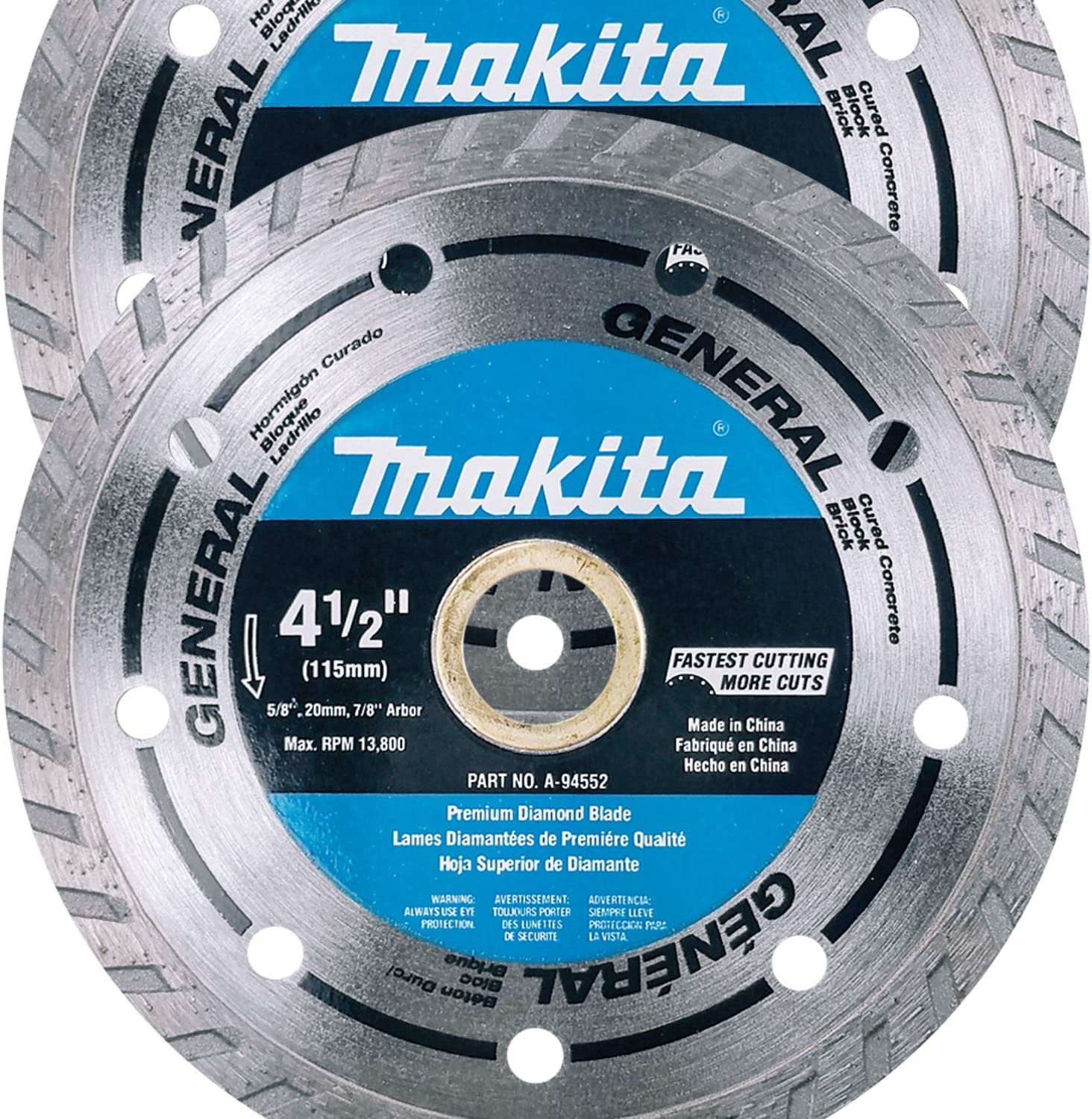 """Makita 2 Pack - 4.5"""" Turbo Diamond Blades For Grinders &Amp; Circular Saws - Ultra-Fast Cutting For Concrete, Masonry &Amp; Brick - 5/8"""", 20Mm &Amp; 7/8"""" Arbors"""
