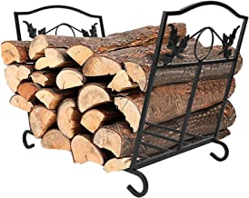 IBS Outdoor Indoor Firewood Racks, Fireplace Log Holder, Storage Carrier of Wood, Black, Foldable, Fire Pit Stove Decorati...