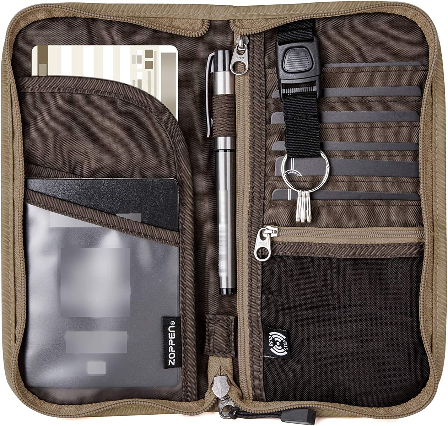 Max 85% OFF SEAL limited product Zoppen RFID Travel Passport Documents Wallet Zipper Organizer