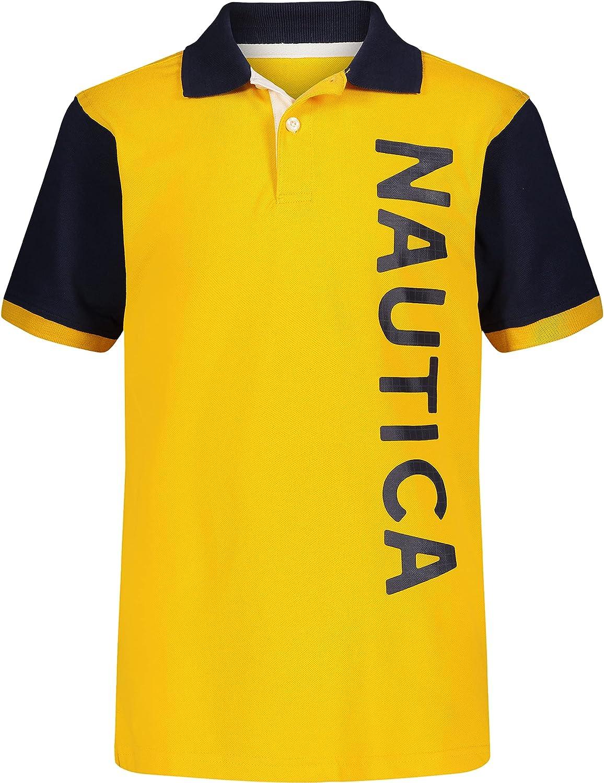 Nautica Boys' Short Sleeve Heritage Colorblock Polo