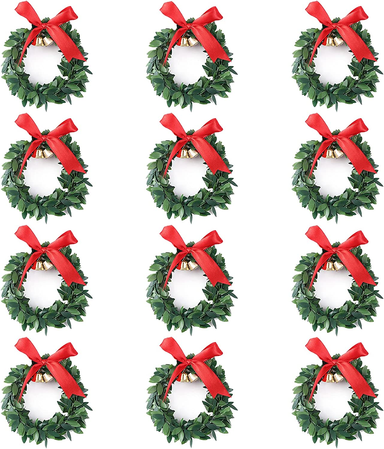 SAIrch Pack of 12 Christmas Candle Artificial Green El Paso Mall L Ring Small Large-scale sale