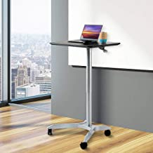 """Seville Classics Airlift XL 28"""" Pneumatic Height Adjustable Sit-Stand Mobile Laptop Computer Desk Cart (27.1"""" to 41.9"""" H),..."""