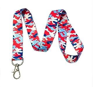 Red White & Blue Patriotic USA Camouflage Camo Print Lanyard Key Chain Id Badge Holder