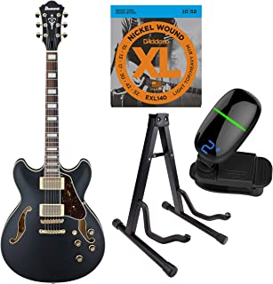 Ibanez Artcore Series Hollow-Body Electric Guitar with Strings, Tuner & Stand (AS73G, Black Flat)