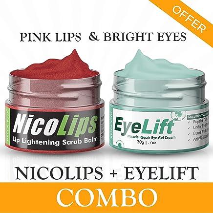 Bella Vita Organic Combo Under Eye Cream For Women & Men and Lip Balm Scrub For Dark Lips Treatment NicoLips