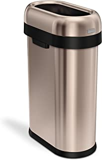 simplehuman 50 Liter / 13.2 Gallon Slim Open Top Trash Can, Commercial Grade, Heavy Gauge Rose Gold Stainless Steel