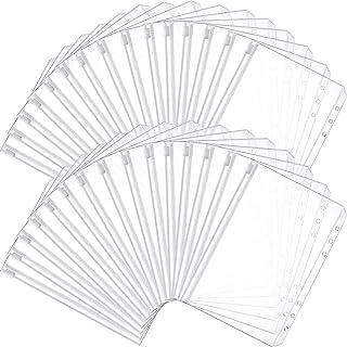 Binder Pocket 6 Holes Loose Leaf Bags A6 Size Binder Zipper Folders Plastic File Document Bags for Home Office School Supp...