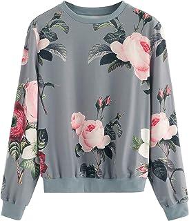 Women's Casual Floral Print Long Sleeve Pullover Tops Lightweight Sweatshirt