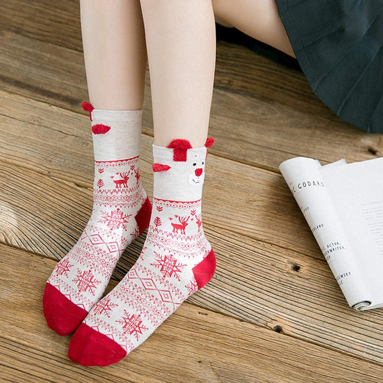 Jamron Mujer Chicas Encantador Calcetines de Navidad Regalo Establecer 3 Pares Novedad Navidad Calcetines de Algod/ón