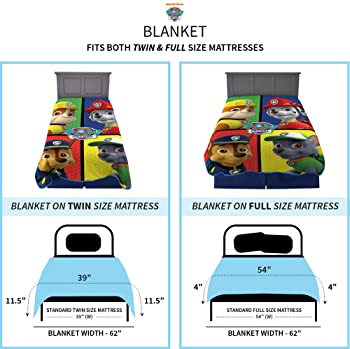 "Franco Kids Bedding Super Soft Plush Microfiber Blanket, Twin/Full Size 62"" x 90"", Paw Patrol"