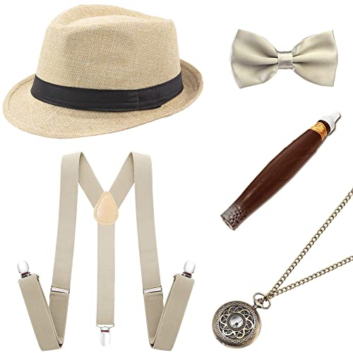 8e789544f3750 Coucoland 1920s Gatsby Costume Men Accesories Set (Panama Hat Elastic  Y-Back Suspender Bow