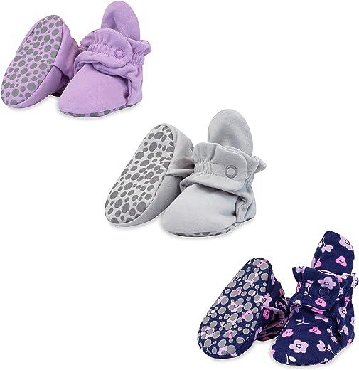 جوارب أطفال Zutano للرضع من الجنسين من القطن مع نعل ذو قابض، أحذية أطفال ناعمة ثابتة، أرجواني / رمادي فاتح / أزرق غامق غامق 18M