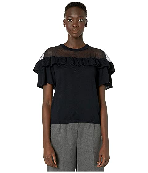 RED VALENTINO Wool Yarn and Point D'Esprit Blouse