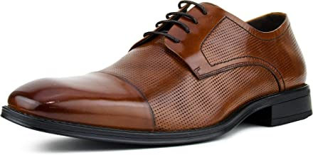 Asher Green AG135 - Men's Oxford Dress Shoes, Genuine Leather Lace Up with Perforations - Smooth Cap Toe Dress Shoes for Men - Dress and Casual Shoes