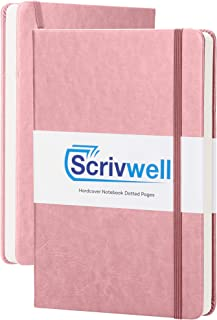 Scrivwell Dotted A5 Hardcover Notebook - 208 Dotted Pages with Elastic Band, Two Ribbon Page Markers, 120 GSM Paper, Pocket Folder - Great for Bullet journaling - Pink