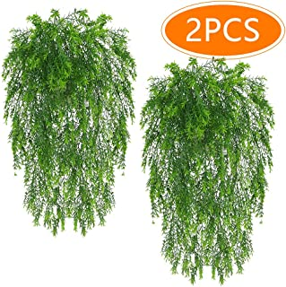 Musdoney Artificial Plants Vines Ferns Persian Rattan Fake Hanging Ivy Decor Plastic Greenery for Wall Indoor Outdoor Hanging Baskets Wedding Garland Decor 2 Pcs
