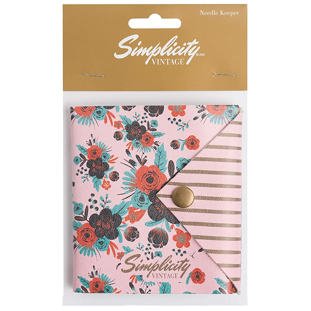 Simplicity Vintage Fashion Pink Floral Felt Pincushion Needle Keeper Case, 4'' x 4.25''