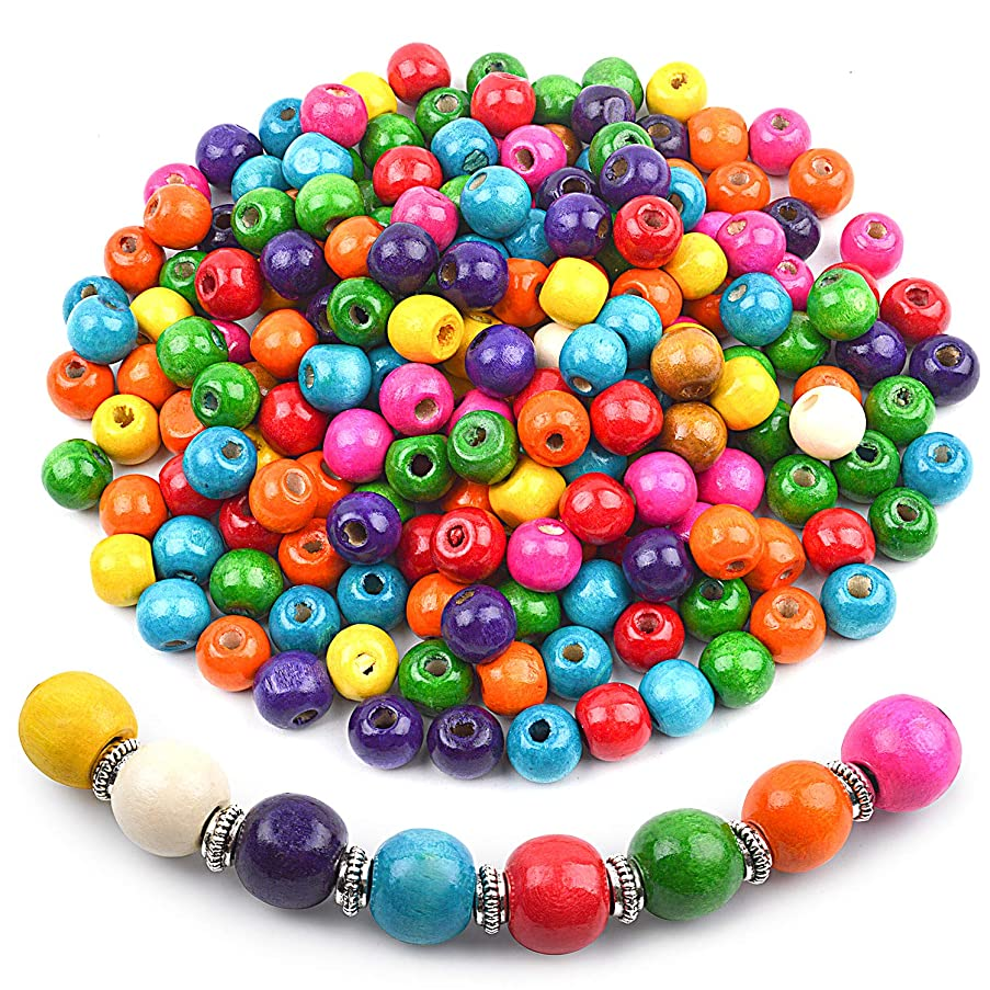 Jdesun 200 Pieces Colorful Round Wood Beads,Large Hole Round Wood Spacer Beads for DIY Project, Wooden Spacer Beads