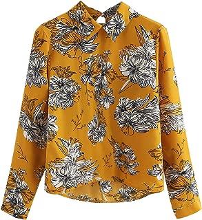 Women's Casual Long Sleeve Asymmetrical Collar Floral Print Blouse Top