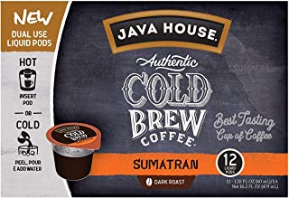 JAVA HOUSE Cold Brew Coffee, Sumatran Dark Roast, Enjoy Hot or Iced, K Cup Coffee Concentrate Liquid Pods (12 Count)