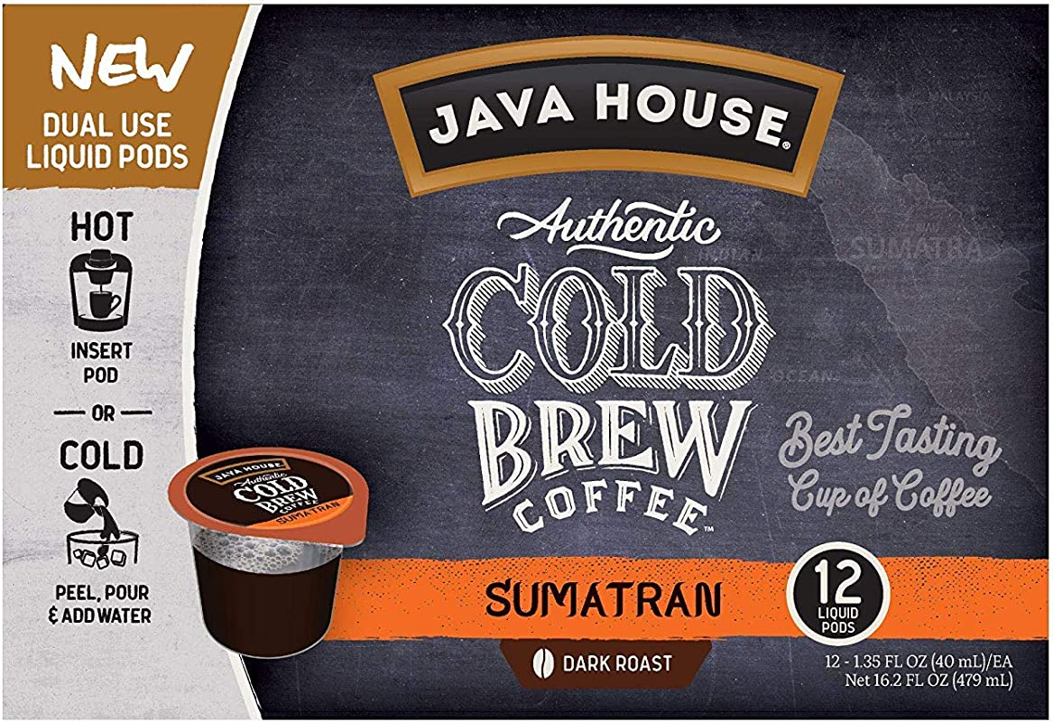 JAVA HOUSE Authentic Cold Brew Coffee Sumatran K Cup Coffee Pods 12 Count