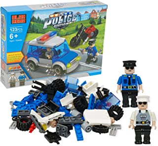 Police Station Interlocking Block Police Car and Two Figure Play Set 123 Piece