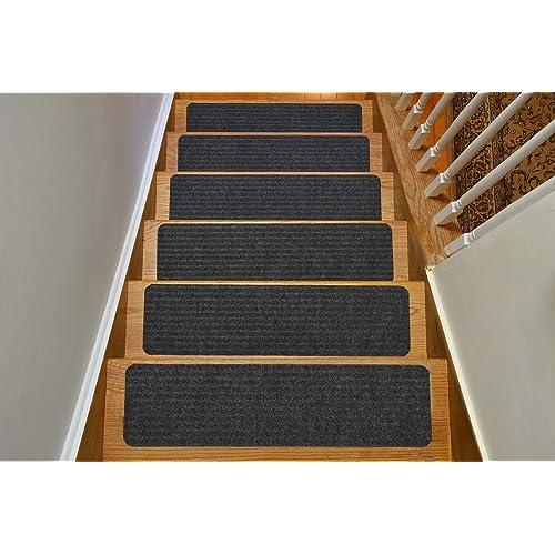 Stair Treads Collection Indoor Skid Slip Resistant Carpet Stair Tread  Treads (Dark Grey, Set
