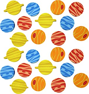 Curious Minds Busy Bags 24 Planet Solar System Erasers - Novelty and Functional Adorable Eraser Novelty Treasure Prize, School Classroom Supply, Math Counters - Sorting - Party Favor (2 Dozen)