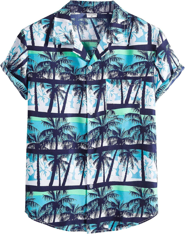 Moxiu Mens Ethnic Hawaiian Tropical Shirts Short Sleeve Button Casual Holiday Summer Blouse
