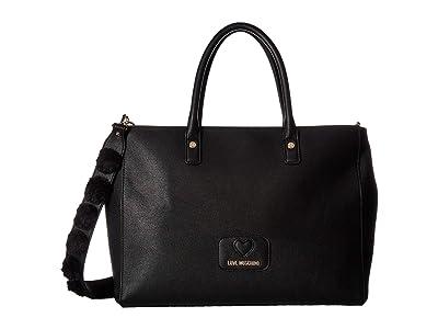 LOVE Moschino Pom Pom Tote (Black) Tote Handbags