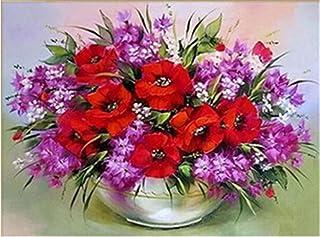 Pittura diamante Vaso di fiori Kit punto croce Pieno di strass Ricamo Mosaico Fiore Immagine di rosa Decorazione di strass...
