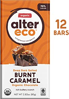 Alter Eco | Dark Salted Burnt Caramel | 70% Pure Dark Cocoa, Fair Trade, Organic, Non-GMO, Gluten Free Dark Chocolate Bar, 12 Bars
