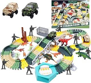 DigHealth 225 PCS Circuit Voiture Dinosaure Flexible, Pistes de Course Jouet Dinosaure avec Véhicules Militaires, Soldats,...