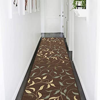 "Ottomanson OTH2068-3X10 Ottohome Runner Rug, 2'7"" X 10'0"", Chocolate Leaves"