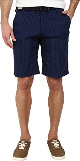 Belted Flat Front Striped Shorts