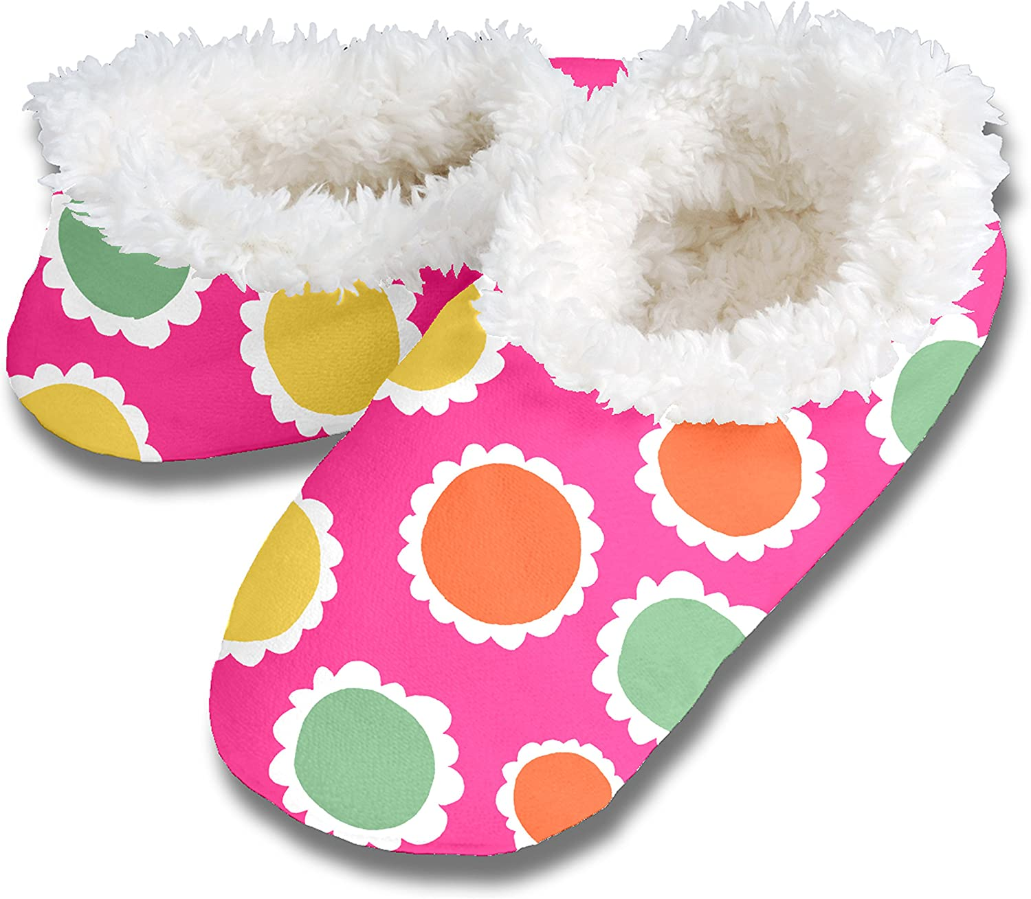 Snoozies Womens Floral Flower Themed Print Slippers with Comfy Cozy Fleece