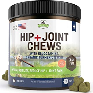 Strawfield Pets Glucosamine for Dogs - Chondroitin, MSM, Turmeric -120 Grain Free Soft Chew Treats - Hip and Joint Support...