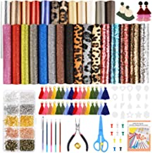 Caydo 28 Pieces 5 Styles Faux Leather Sheets, Leather Earring Making Kits with Tassel Hoop, Instructions, Cut Template, Earring Hooks, Jump Rings for Earrings Making Crafts (6.3 x 8.3 inch)